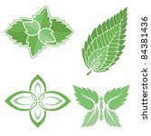 four green mint leaves icons... | Shutterstock .eps vector #84381436