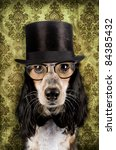 Retro Dog With Stove Pipe Hat...