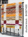 Typical Spanish handmade rug for sale in the village of Nijar, Almeria, Andalusia, Spain. - stock photo