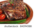grilled ribs with vegetables on ... | Shutterstock . vector #84394588
