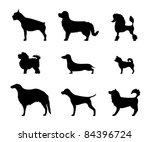Stock vector silhouettes of dogs 84396724