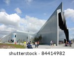 GLASGOW, SCOTLAND - AUGUST 20: the exterior of the Riverside Museum on August 20, 2011 in Glasgow, Scotland. The Riverside Museum opened in June 2011 and replaces the city's Transport Museum. - stock photo
