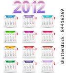 Set Of Twelve Monthly Calendars ...