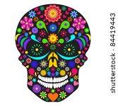 Illustration Of Flower Skull...