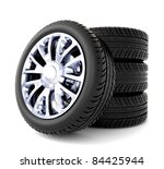 3d tires isolated on white... | Shutterstock . vector #84425944