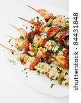 chicken kebab on skewers | Shutterstock . vector #84431848