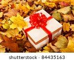 Gift box in fall foliage. Autumn holiday. - stock photo