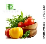 fresh vegetables on the white... | Shutterstock . vector #84438130