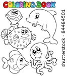 coloring book with sea animals... | Shutterstock .eps vector #84484501