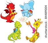 Stock vector cartoon animals small schooler 84489004