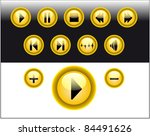 yellow media player buttons | Shutterstock .eps vector #84491626