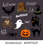 halloween cartoons and doodles | Shutterstock .eps vector #84497629