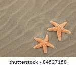 Two Starfish On The Beach With...