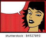 Pop Art Retro Woman With Speec...