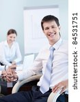 Young business man at office - stock photo