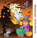 scene with halloween theme 1  ... | Shutterstock .eps vector #84546568