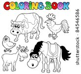 coloring book with farm... | Shutterstock .eps vector #84546586