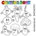 coloring book with vegetables   ... | Shutterstock .eps vector #84546592