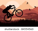 Mountain bike rider in wild nature landscape illustration - stock vector