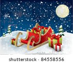 santa s sleigh tree and snow | Shutterstock .eps vector #84558556