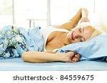 woman waking up stretching in... | Shutterstock . vector #84559675