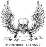 skull and wings heraldry | Shutterstock .eps vector #84570337
