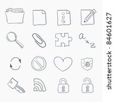 sketch icon set isolated on... | Shutterstock .eps vector #84601627