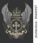 Cross Wing Shield Gray And Gold