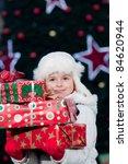 happy christmas   little girl...   Shutterstock . vector #84620944