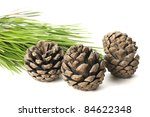 Pine Cones Isolated On White...