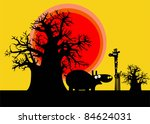 funny silhouettes of african...