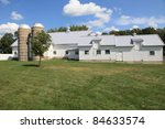 Classic Twin Silos And Barn On...