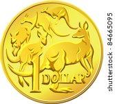 Vector Gold One Dollar Coin...