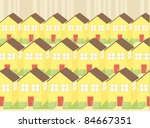 A suburban community with identical houses. - stock vector