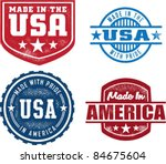 vintage made in usa stamps | Shutterstock .eps vector #84675604