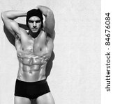 sexy fine art black and white... | Shutterstock . vector #84676084