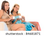 cute two girls posing on a white | Shutterstock . vector #84681871
