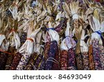 """""""Fancy Corn"""" Colorful dried corn during harvest season at an outdoor market. - stock photo"""