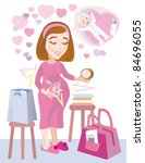 Positive mood of woman before a hospital to birth of child - stock vector