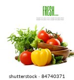 fresh vegetables on the white... | Shutterstock . vector #84740371