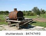Old Wooden Barrel On Cart