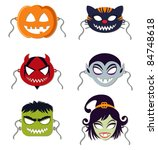 vector halloween masks | Shutterstock .eps vector #84748618