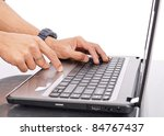 Using The Track Pad on Laptop Computer - stock photo