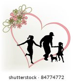 silhouette family with red heart | Shutterstock .eps vector #84774772