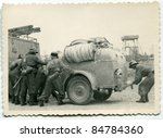 Vintage photo of German firemen during WW2 (forties) - stock photo
