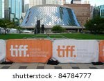 Stock photo toronto september banners of the th toronto international film festival in front of roy 84784777