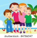 group of kids on beach | Shutterstock .eps vector #84786547