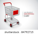 background,carry,cart,drawn,empty,equipment,illustration,inside,isolated,market,metal,metallic,object,one,red