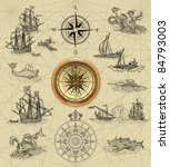 old sailboats and compass rose | Shutterstock . vector #84793003