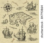 old pirate map | Shutterstock . vector #84793864